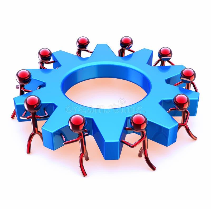 Partnerstwo przekładni koła drużyny praca, czerwoni mężczyzna obraca błękitnego cogwheel ilustracja wektor
