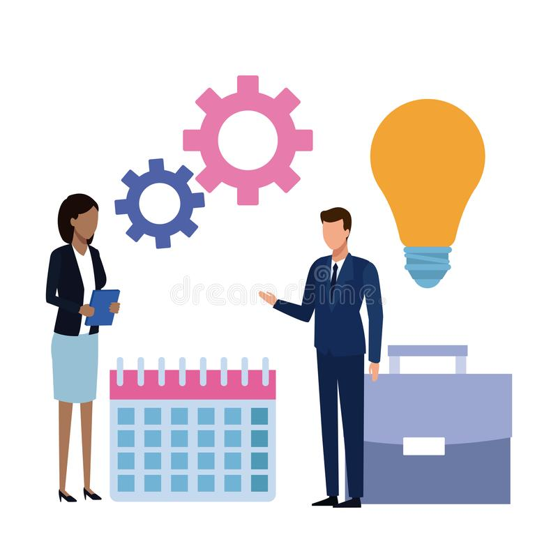 Partnery biznesowi brainstorming kreskówkę ilustracja wektor