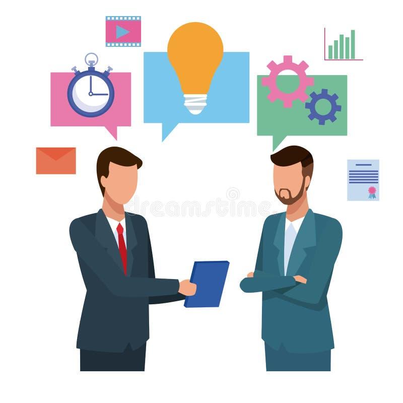 Partnery biznesowi brainstorming kreskówkę ilustracji