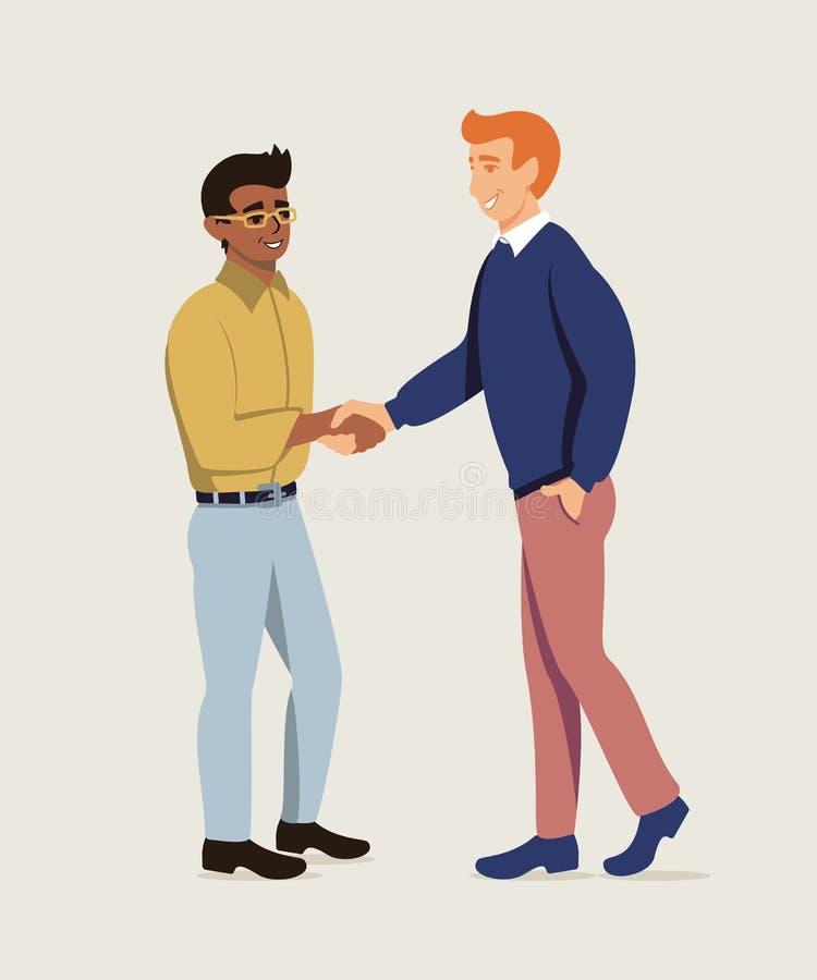 Partnery biznesowi trząść ręki mieszkania ilustrację ilustracja wektor