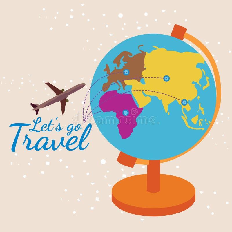 Partons pour voyager, sur l'illustration de vecteur du monde de carte images libres de droits