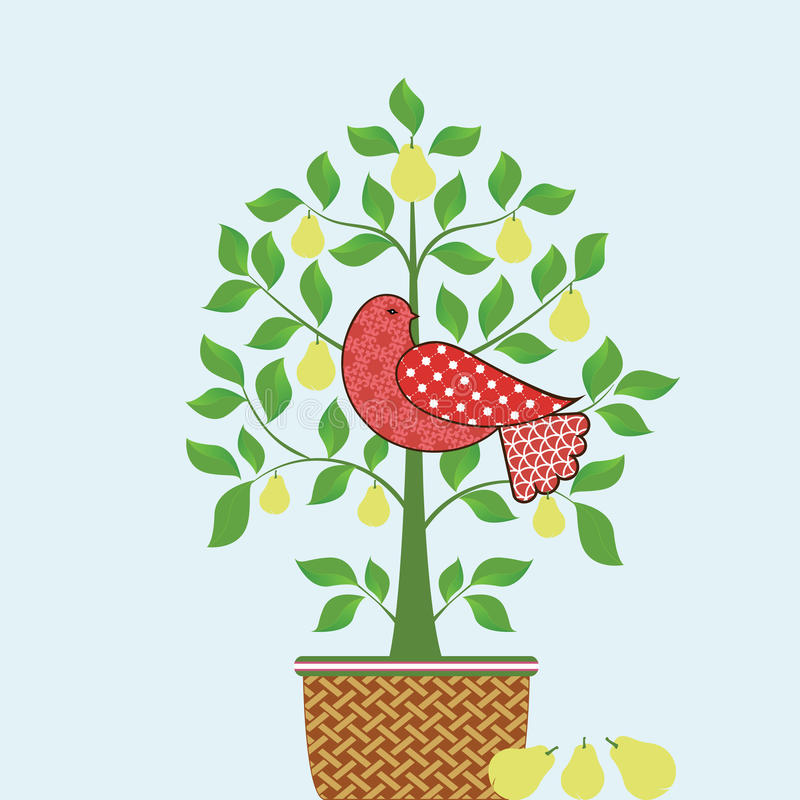 Partridge In A Pear Tree With Basket. And three pears on the ground