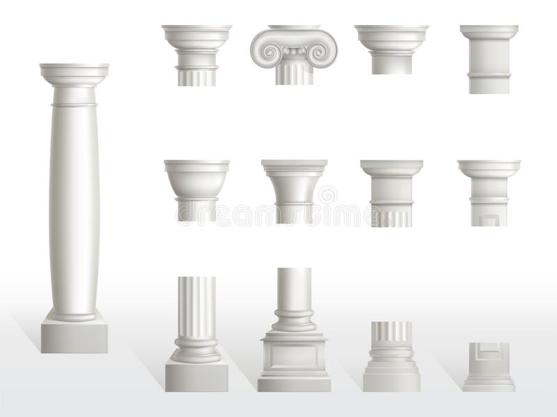 Parts of ancient column, base, shaft and capital. Set. Ancient classic ornate pillars of roman or greece architecture, white marble stone. Tuscan, Doric, Ionic royalty free illustration