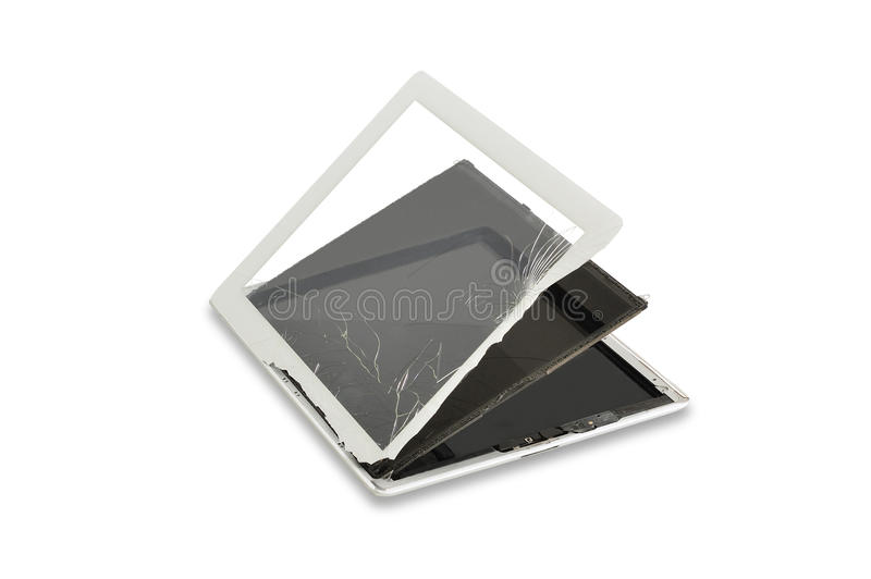 Parts and crack touch screen of tablet stock image