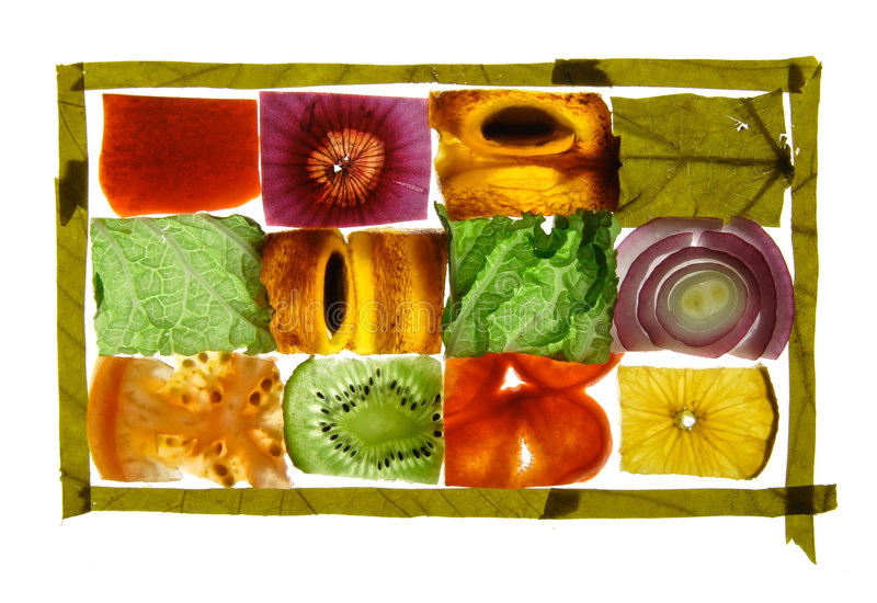Parts de fruits et légumes photo libre de droits