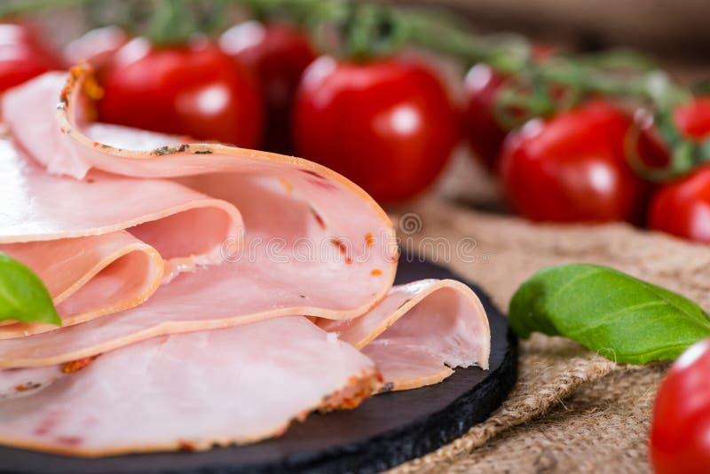 Parts de jambon cuit photo libre de droits