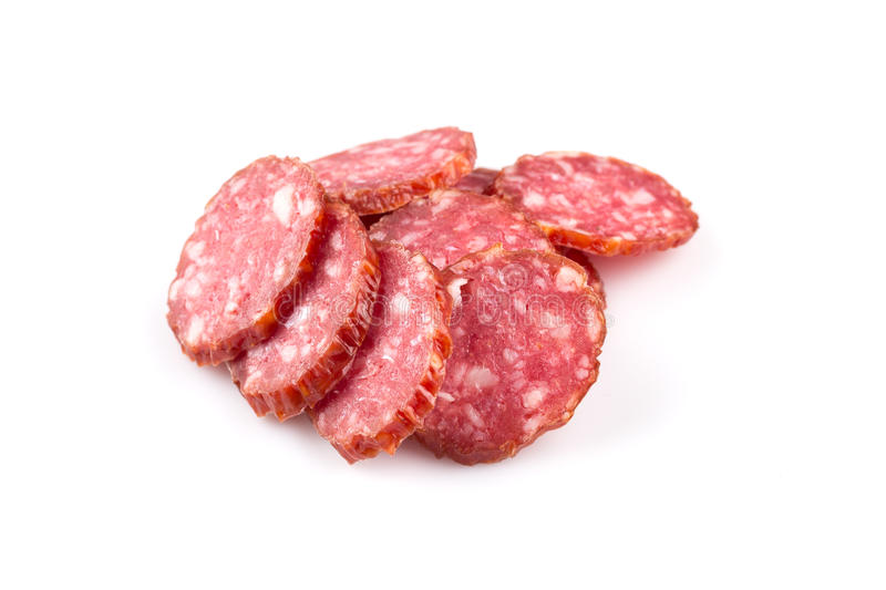 Parts de salami images libres de droits
