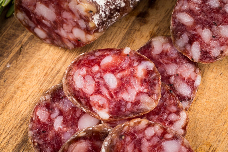 Download Parts de salami image stock. Image du croûte, porc, italien - 56476825