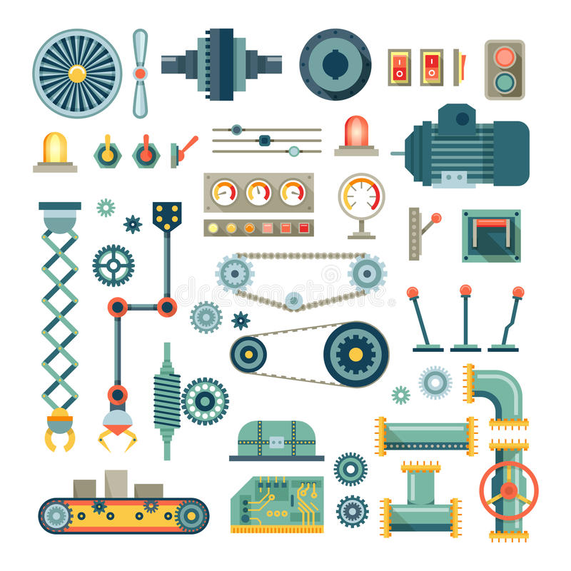 Parts of machinery and robot flat icons vector set royalty free illustration