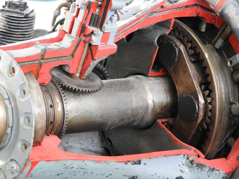 Parts of the old aircraft engine. Nuts connecting tubes, nozzles, cylinders, insulation of the combustion chamber royalty free stock image