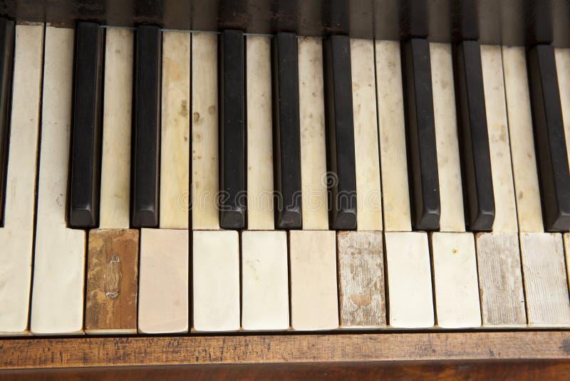 Old piano keyboard. Parts of an old piano keyboard royalty free stock photography