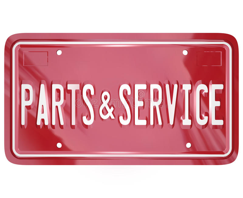 Parts and Service License Plate Automotive Car Repair Shop. A blue license plate with the words Parts and Service to advertise a collision body shop or garage stock illustration