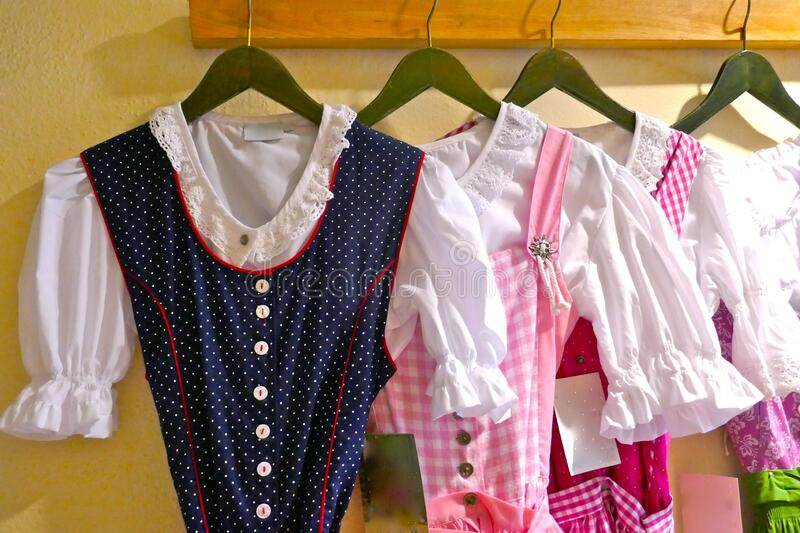 Parts of a typical Bavarian, traditional clothing, suitable for the Oktoberfest in Munich, Germany, Europe. stock images