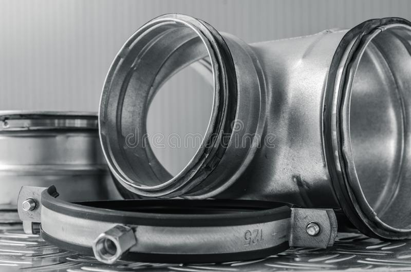 Parts of ventilation installation, close-up stock photography
