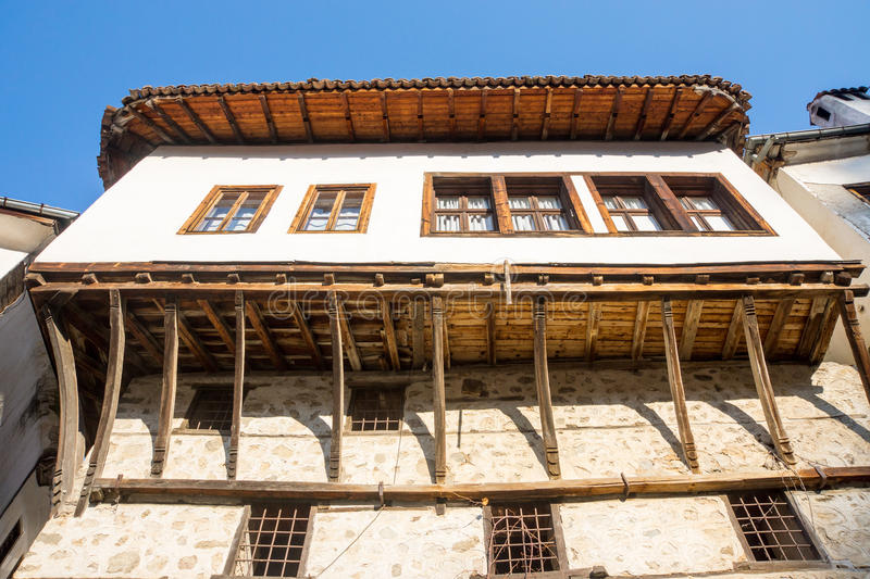 Parts and wooden architecture of Melnik, Bulgaria. Melnik - the smallest town in Bulgaria. Located in the south in the valley of limestone rocks of Melnik has royalty free stock photography