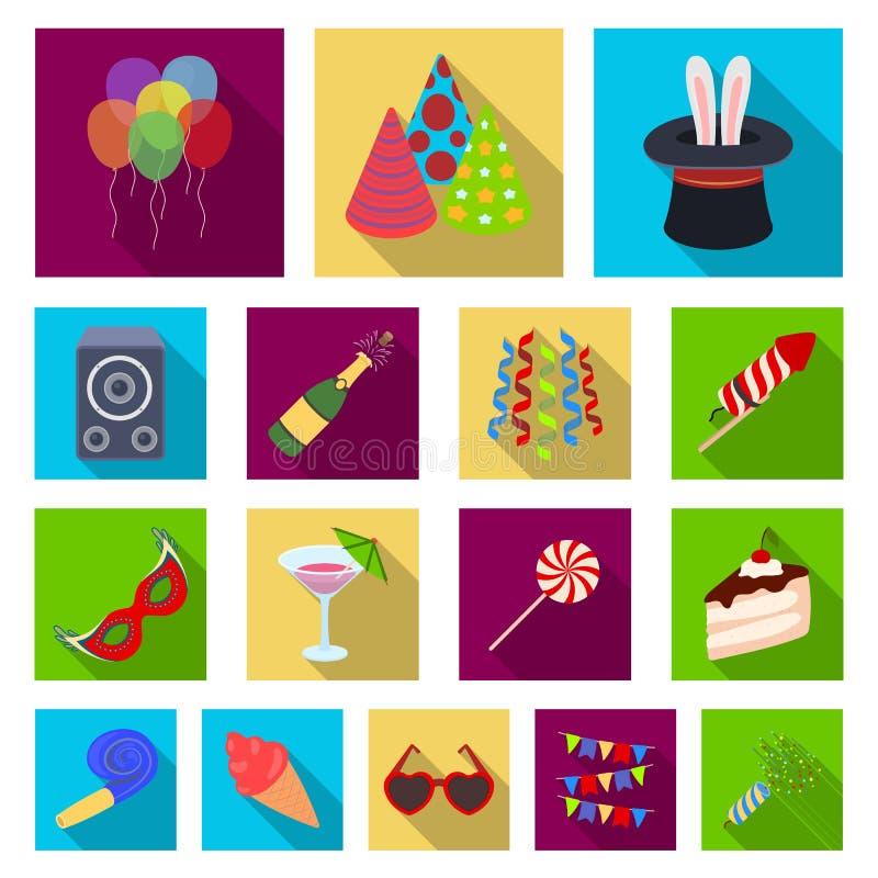 Party, ícones lisos do entretenimento na coleção do grupo para o projeto A celebração e o deleite vector a ilustração conservada  ilustração stock