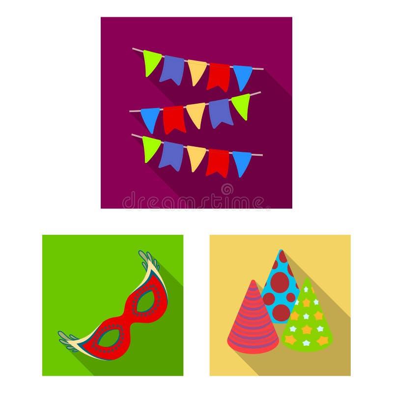 Party, ícones lisos do entretenimento na coleção do grupo para o projeto A celebração e o deleite vector a ilustração conservada  ilustração do vetor