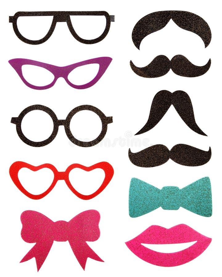 Party аксессуары, eyeglasses, усик, изолированный на белизне стоковые фото