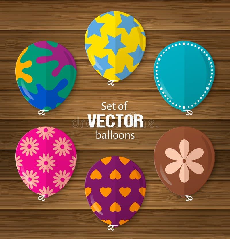 Party воздушные шары в плоском стиле полезном для приветствовать и день рождения или другие случаи вектор иллюстрация вектора
