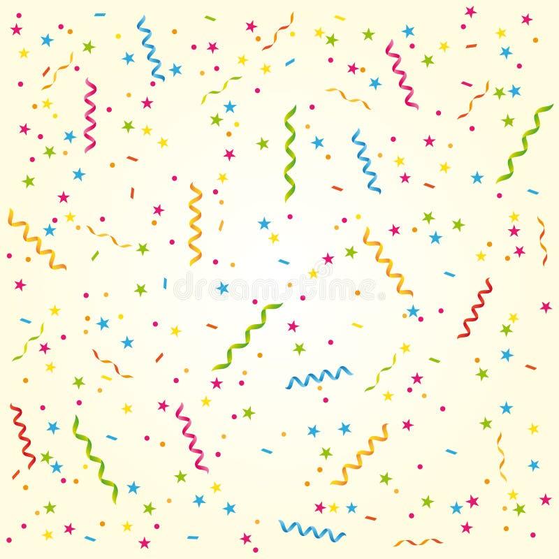 Party ленты и Confetti Сладостные поздравительая открытка ко дню рождения или предпосылка торжества иллюстрация вектора