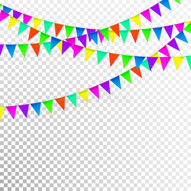 Party предпосылка с вектором флагов, покрашенные фестоны на прозрачной предпосылке иллюстрация штока