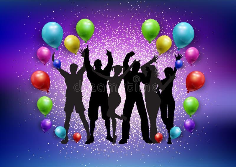 Party толпа на воздушные шары и предпосылка яркого блеска бесплатная иллюстрация