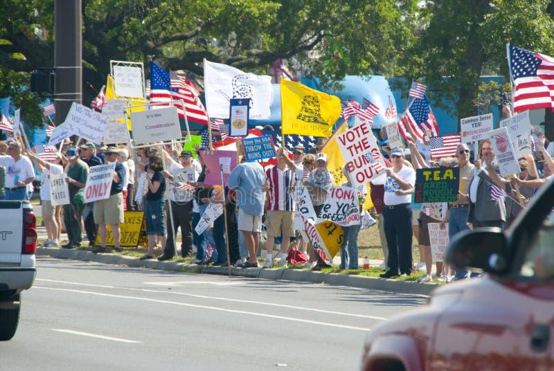 party чай тягла протестующих стоковая фотография