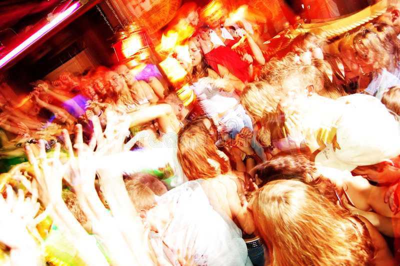 Party. Big party, people dancing, lasers royalty free stock photo