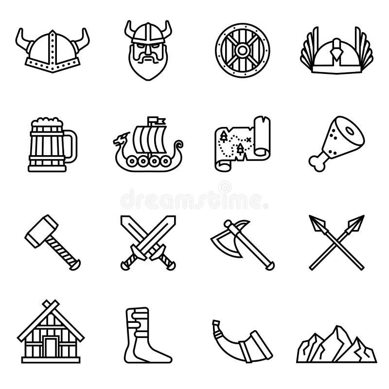 Viking nordic icon set. vector illustration