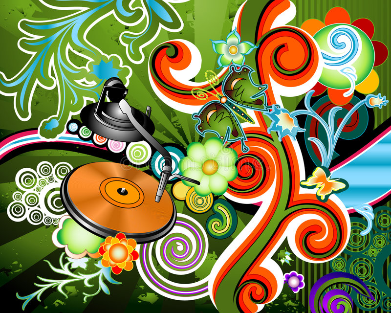 Party. Design with turntable on floral grunge background