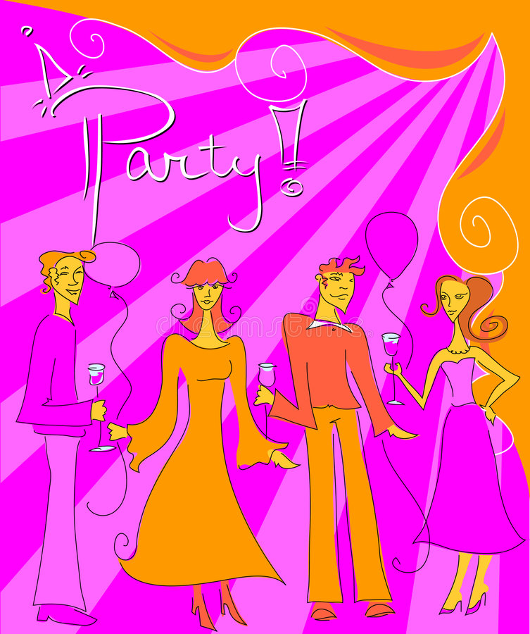 Party!. Bright stylized Party graphic of people drinking wine, talking & having fun -- great for invitations and flyers royalty free illustration