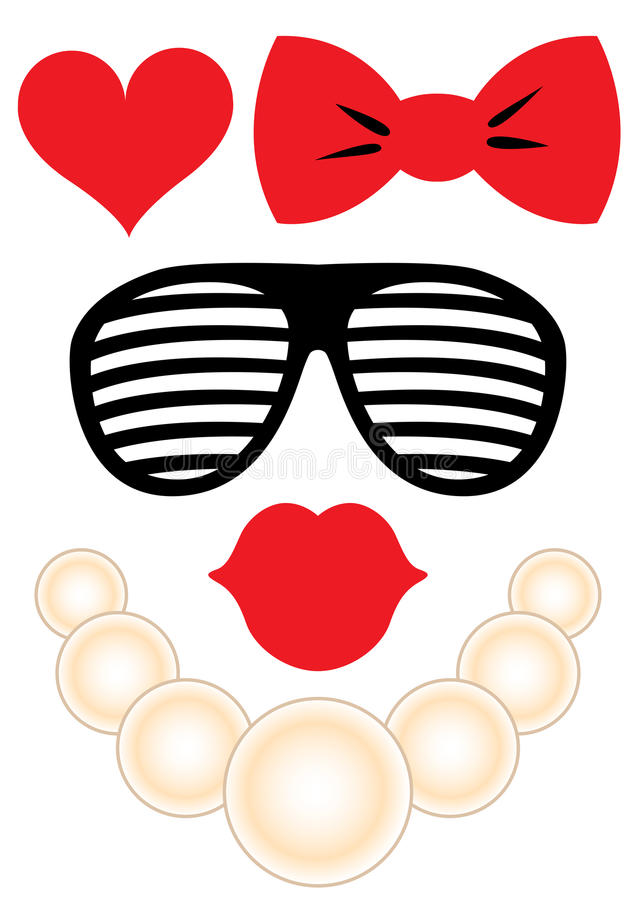 Free Party Accessories Set - Glasses, Necklace, Lips Royalty Free Stock Photos - 88620198