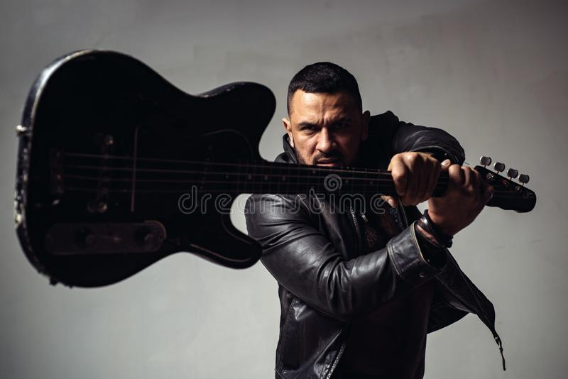 Party for adults. Music dance party. Move your body. Enjoy perfect sound. Rock musician concept. Muscular athletic sexy stock photos
