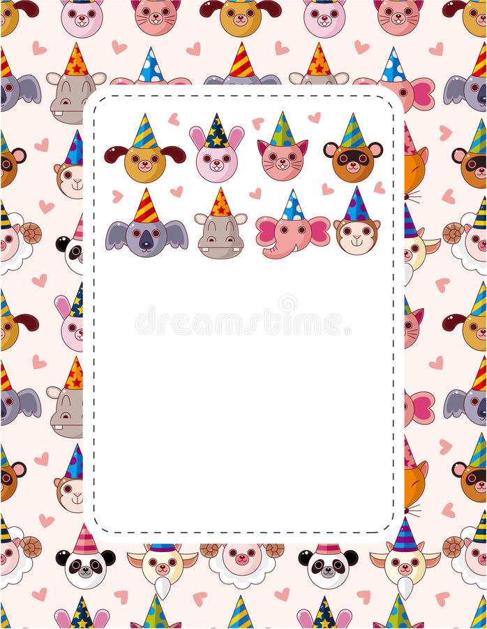 Party animal face card vector illustration