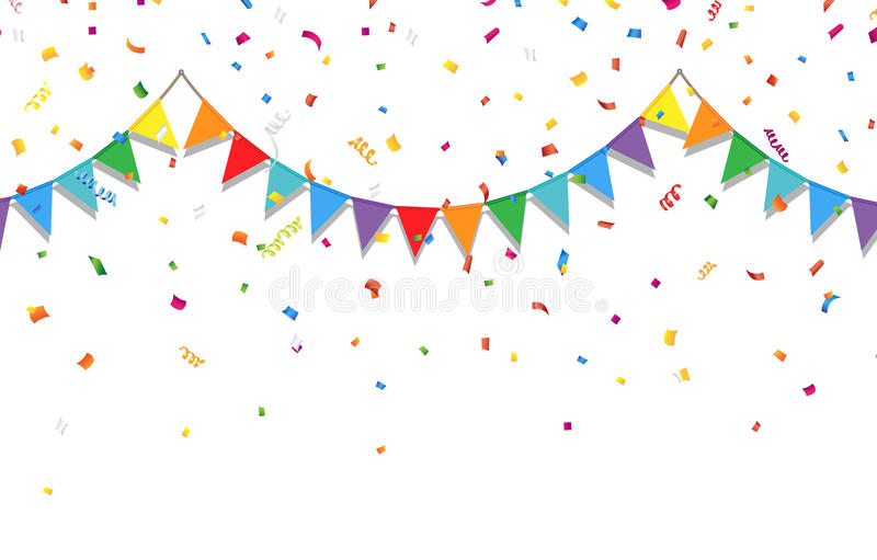 Party Background With Colorful Flags And Confetti Stock ...