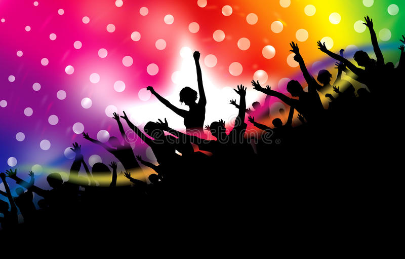 Party background. Illustration of party people with disco light background