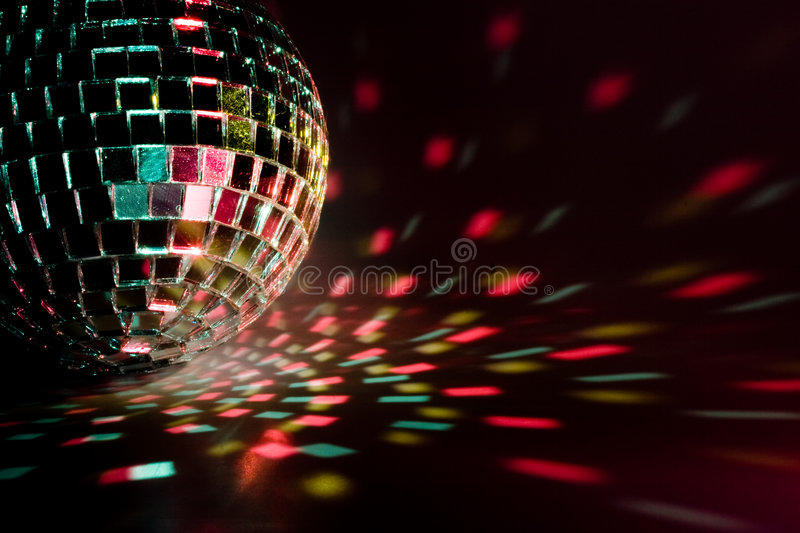Party ball reflection. Disco ball light reflection background. Close up stock photo