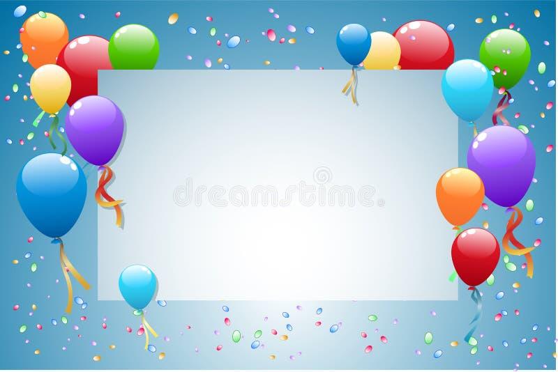 Party-Ballone mit Karte für Text stock abbildung