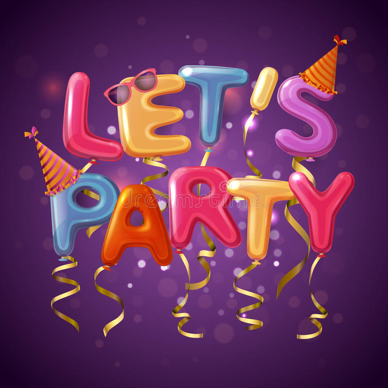 Party Balloon Letters Background vector illustration