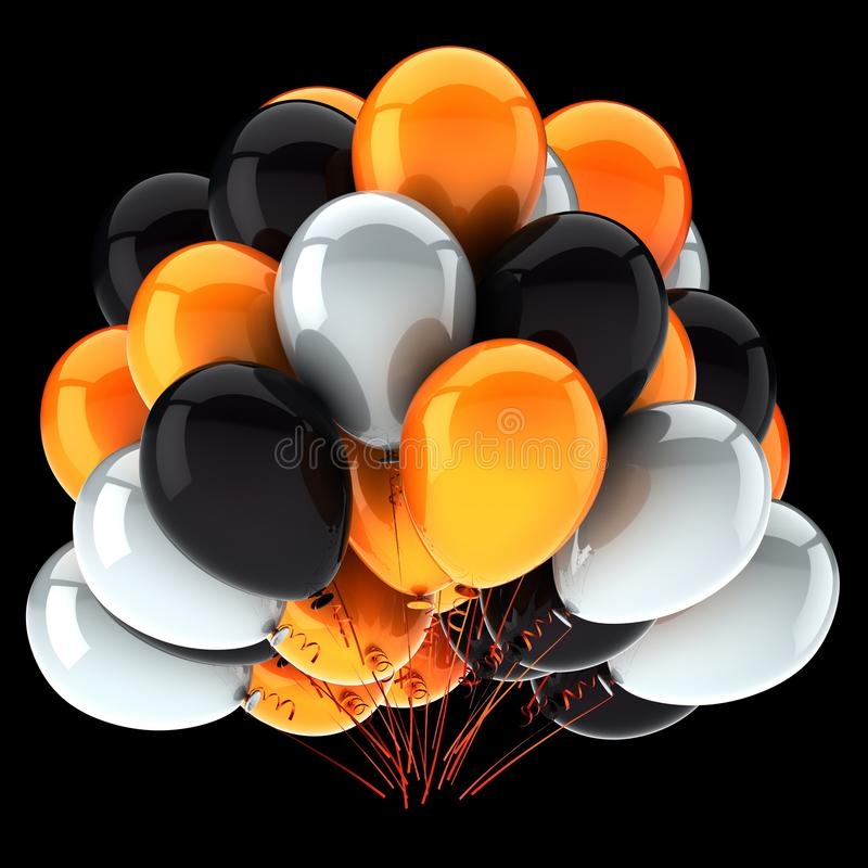 Party balloon orange white black colorful. helium balloons stock illustration