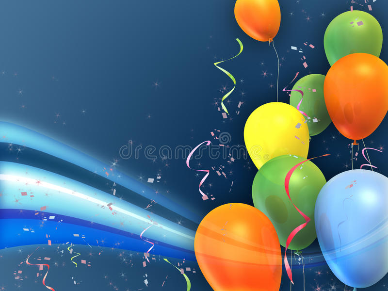 Party balloons. Happy and colorful party composition. Suitable for cards, invitations and backgrounds. Digital illustration