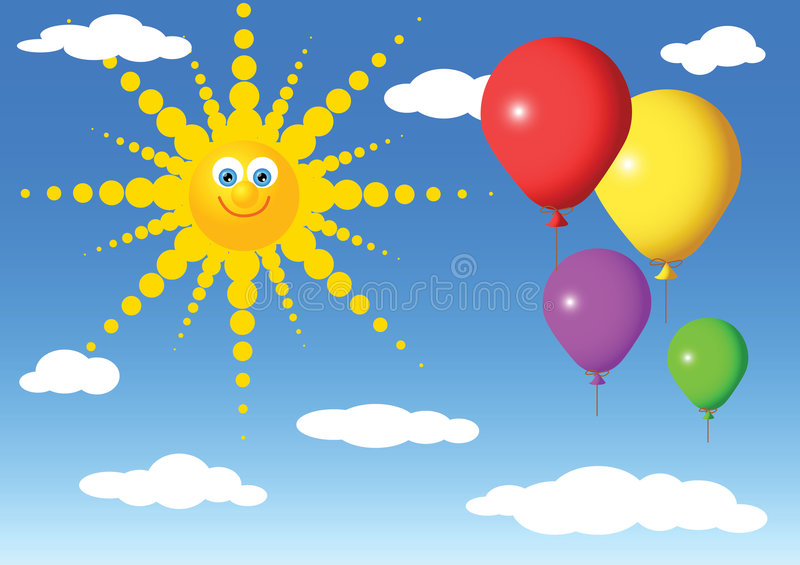 Party balloons. Colorful party balloons on the sky with sun vector illustration