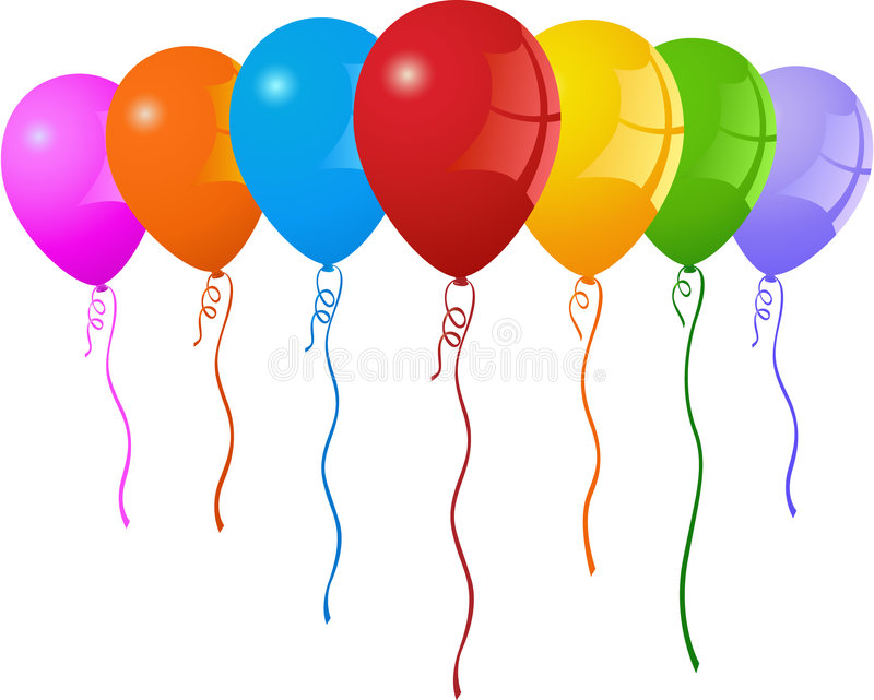 Party Balloons. Colorful party balloons with curly ribbons. Vector format available