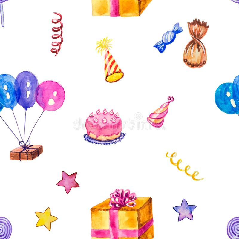 Party balloons, cake, presents and confetti in a seamless pattern. stock illustration