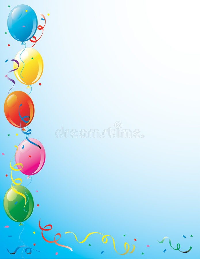 Party balloons and confetti border stock illustration