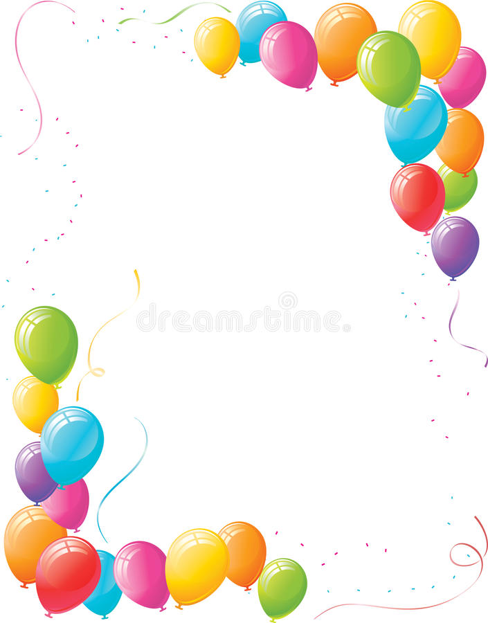 Party Balloons And Confetti Vertical Layout Stock Photo