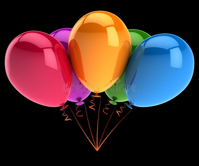Party balloons five 5 colorful. birthday, celebrate, anniversary stock illustration