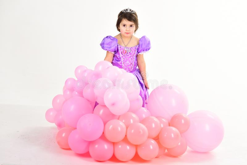 Party balloons. Happy birthday. Little girl in princess dress. Kid fashion. Little miss in beautiful dress. Childhood royalty free stock photography