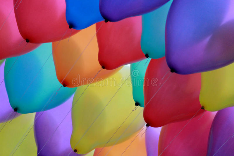 Party balloons high up stock image