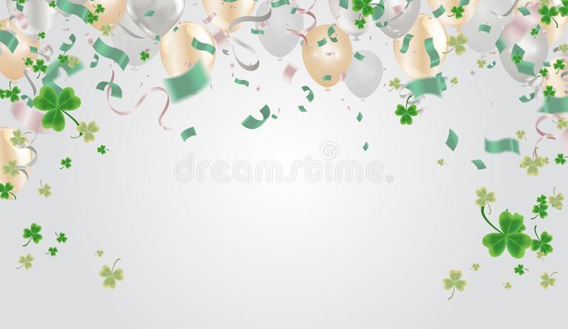 Party balloons illustration Clover leaves decorated transparent background of St Patrick`s Day. Poster or banner design vector illustration
